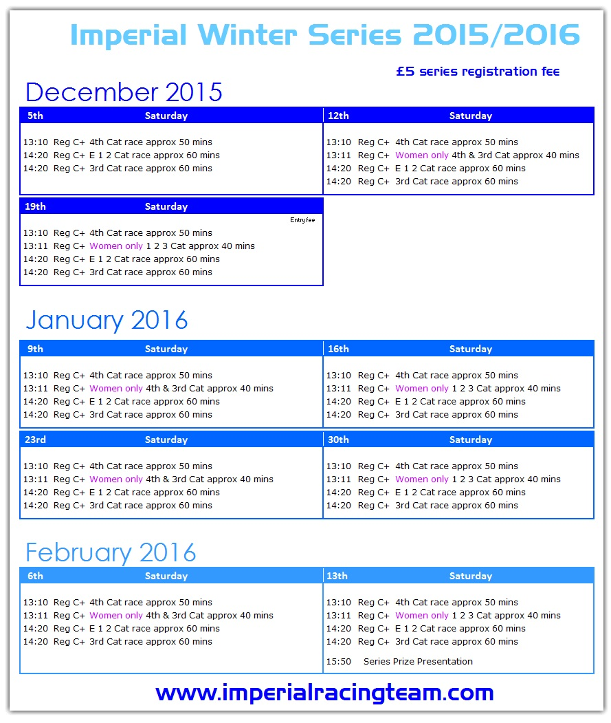 Imperial Winter Series 2015/2016 race dates
